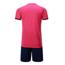 Load image into Gallery viewer, Junior Football Kit - Pink and blue/black stripes