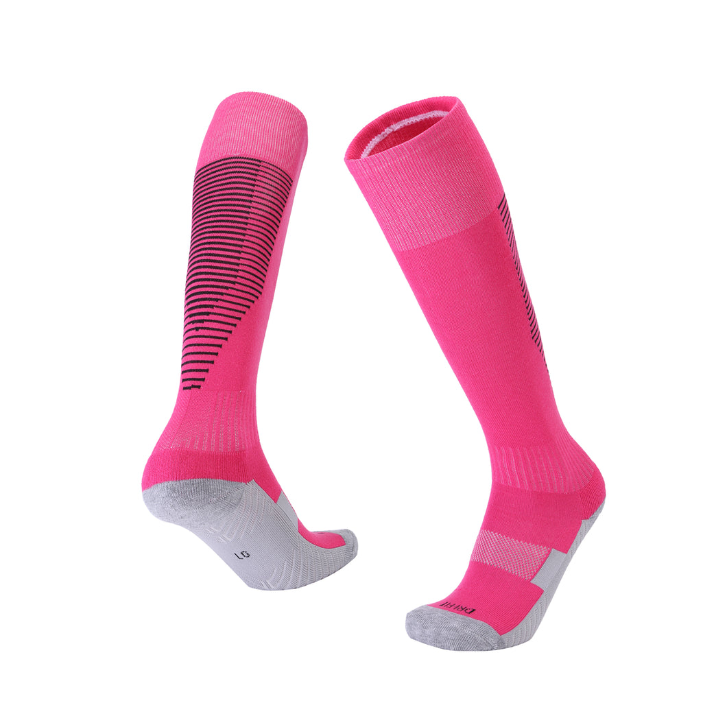 Socks Junior and Adult - Pink with Black trim