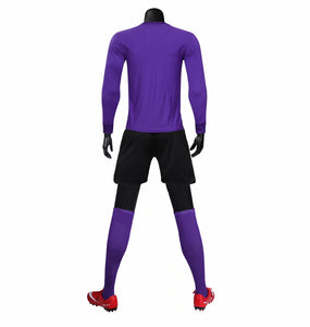 Full Football Kit - Purple with Criss Cross Design and Black Shorts.