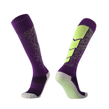 Load image into Gallery viewer, Socks Adult - Purple with green back leg design
