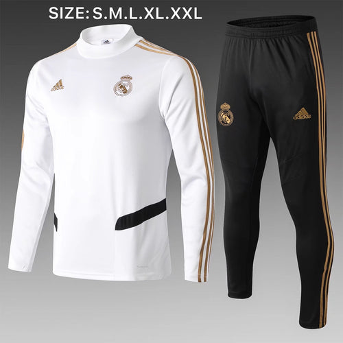Real Madrid Bespoke Black and White Tracksuit Top & Bottoms