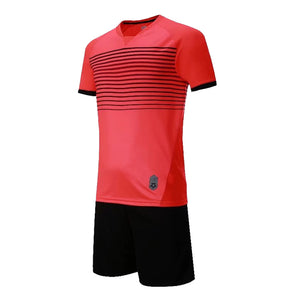 Junior Football Kit - Red and Black stripes