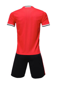 Adidas Full Football Kit Adult Sizes only - Red with 3 Stripes and Black shorts