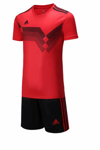 Adidas Full Football Kit Adult Sizes only - Red with Black Stripe