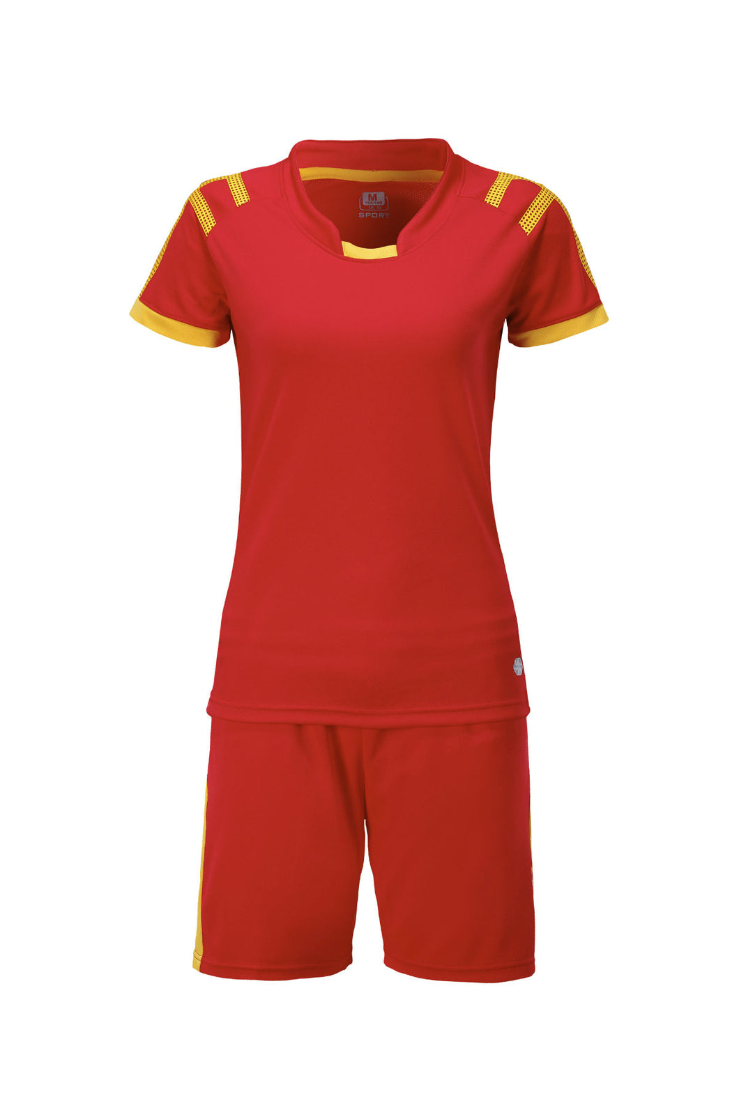 Full Football Kit -  Red with Yellow Trim
