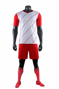 Full Football Kit - Red and White with Thin Stripe Design.