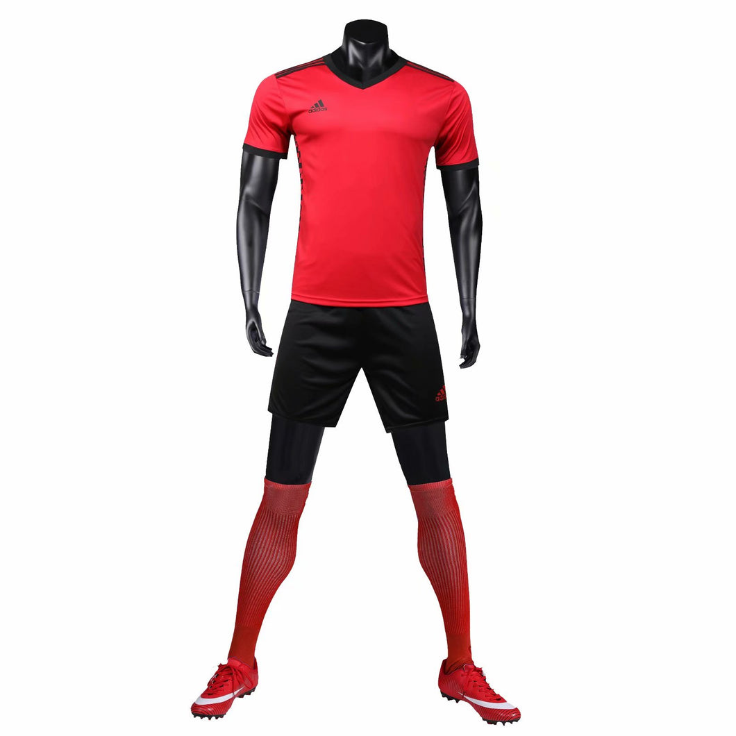 Adidas Full Football Kit Adult Sizes only - Red with Black checke.