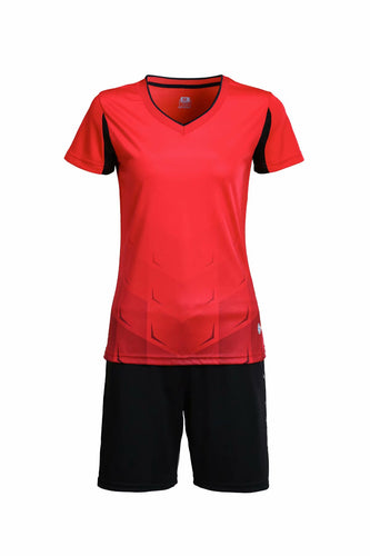 Full Football Kit - Red With Black Shorts