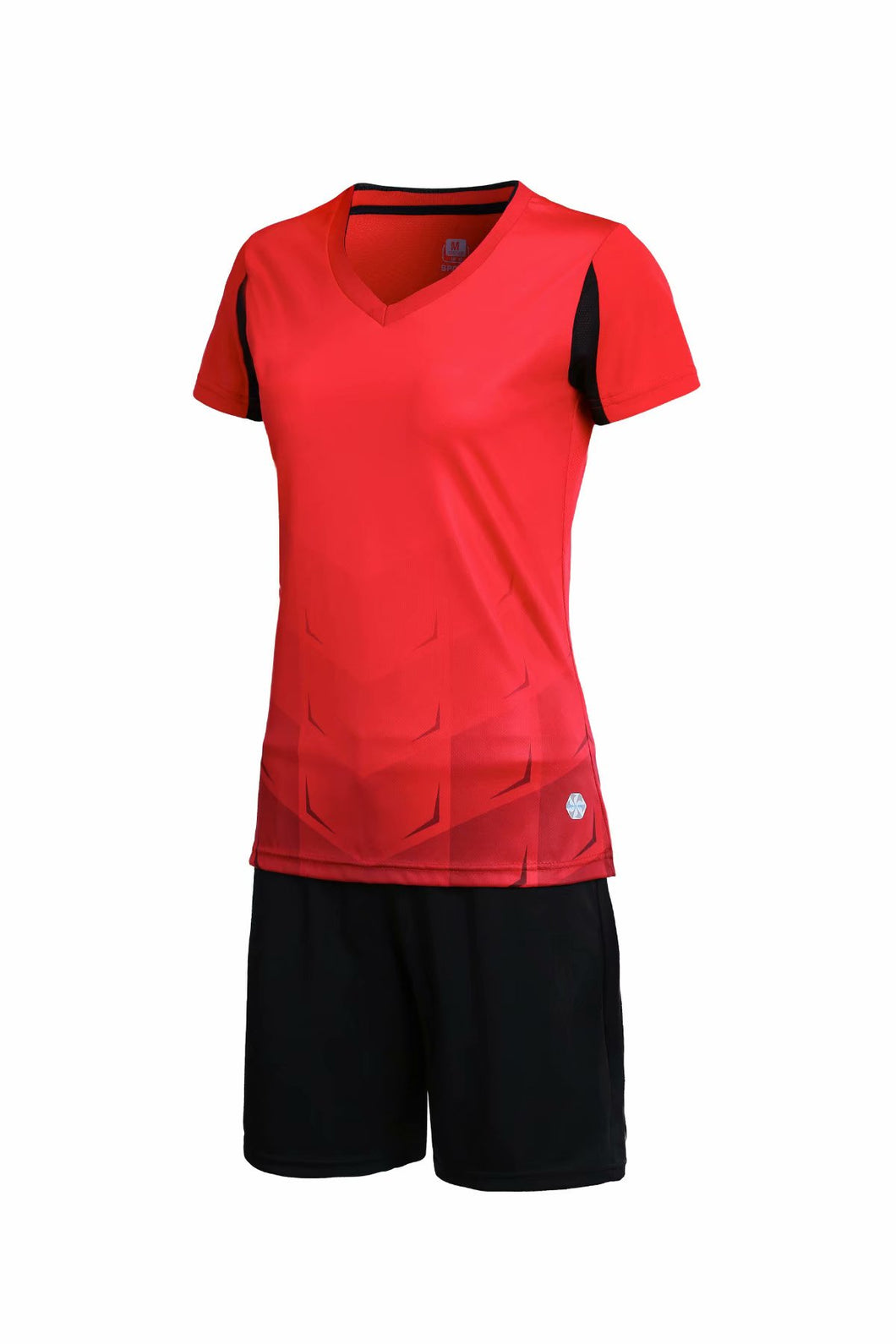 Full Football Kit - Red With Black Shorts.