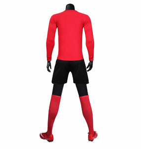 Full Football Kit - Red with Criss Cross Design and Black Shorts.