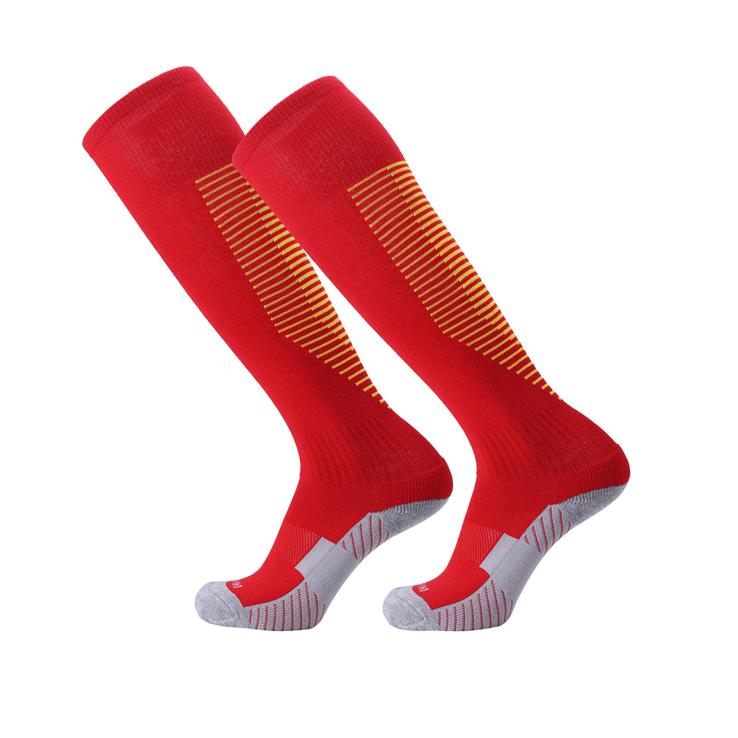 Socks Junior and Adult - Red with Orange trim