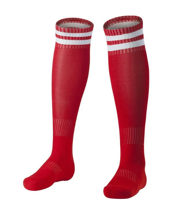Socks Junior and Adult - Red with two White lines