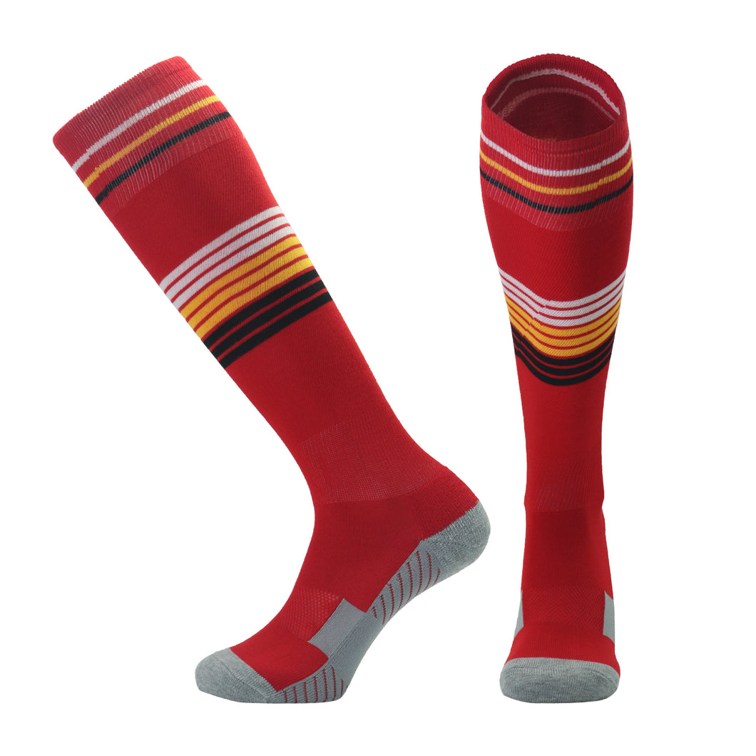 Socks Adult - Red with yellow, white and black trim