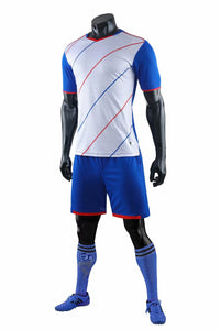 Full Football Kit - Royal Blue and White with Thin Stripe Design.