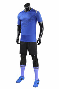 Full Football Kit - Royal Blue with Tiger Print and Black Shorts.