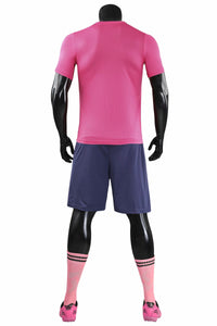 Full Football Kit - Deep Pink with Tiger Print and Purple Shorts.