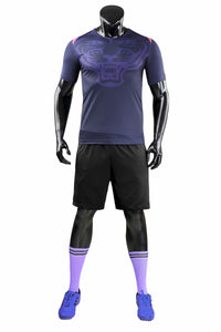 Full Football Kit - Deep Purple with Tiger Print and Black Shorts.