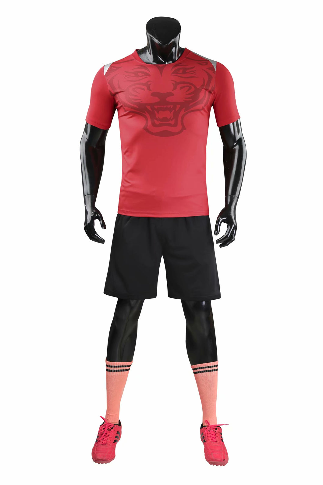 Full Football Kit - Deep Red with Tiger Print and Black Shorts.