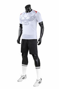 Full Football Kit - White with Tiger Print and Black Shorts.