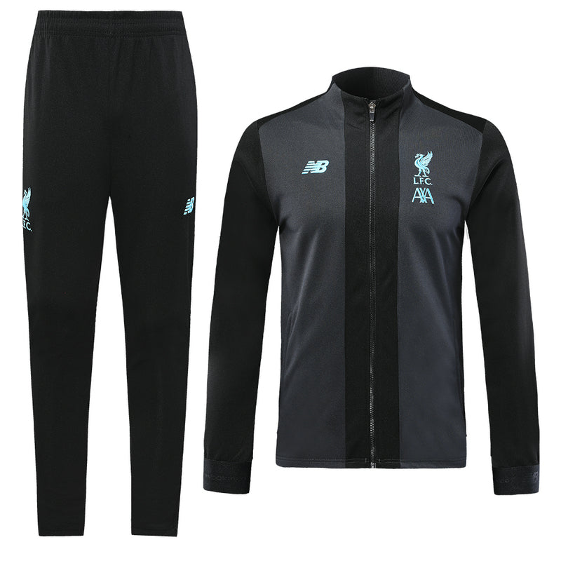 LFC Bespoke Grey and Black Tracksuit Top & Bottom