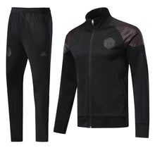 Load image into Gallery viewer, Bespoke Manchester United Black Tracksuit with Maroon Shoulder Detail Top & Bottom