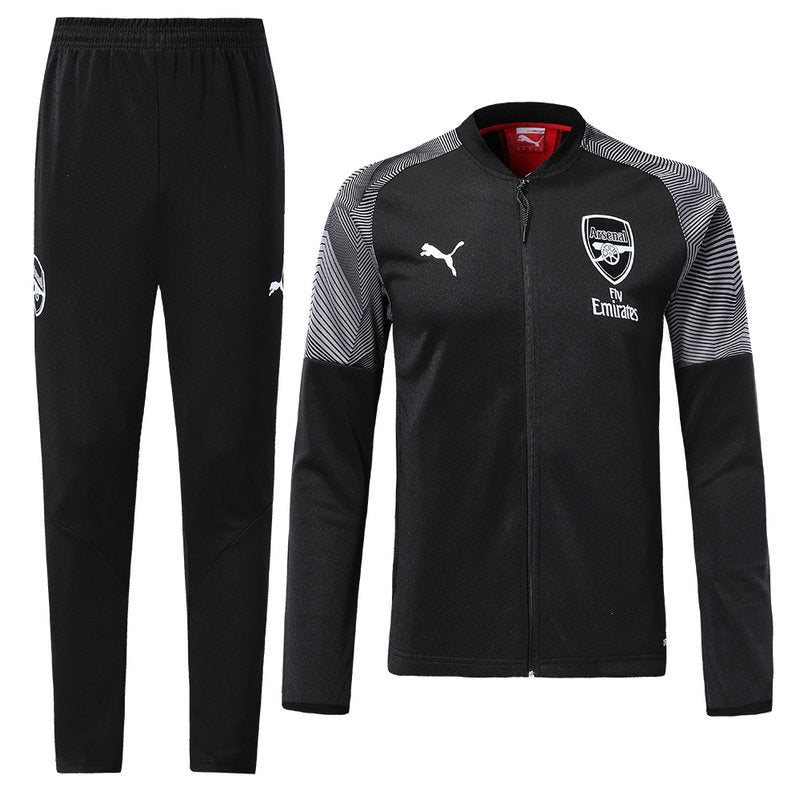Arsenal Bespoke Black and Grey Tracksuit Top & Bottom