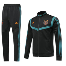 Load image into Gallery viewer, Ajax Bespoke Black With Blue Trim Tracksuit Top & Bottom