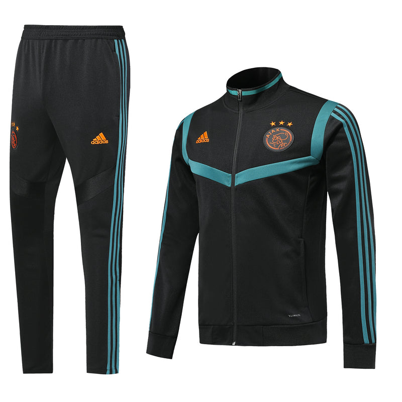 Ajax Bespoke Black With Blue Trim Tracksuit Top & Bottom