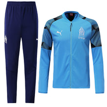 Load image into Gallery viewer, Marseilles Bespoke Sky Blue and Navy Tracksuit Top & Bottoms