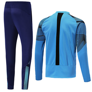 Marseilles Bespoke Sky Blue and Navy Tracksuit Top & Bottoms