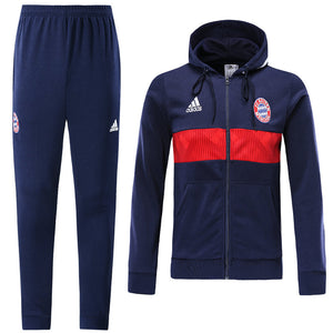 Bayern Bespoke Hooded Royal Blue With Red Detail Tracksuit Top & Bottom