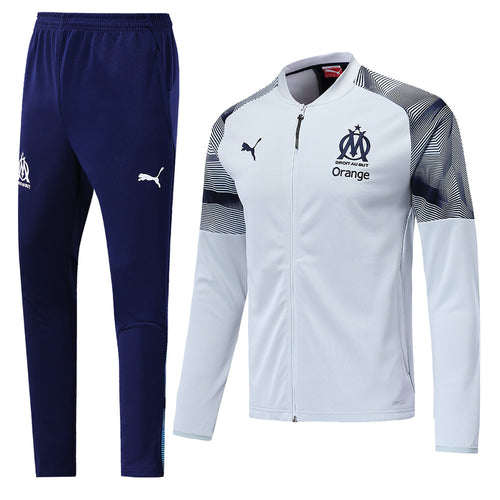 Marseilles Bespoke White and Blue Tracksuit Top & Bottoms