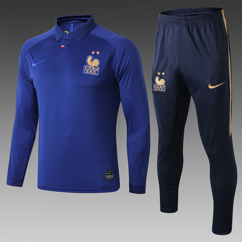 France Bespoke Blue Tracksuit Top & Bottom