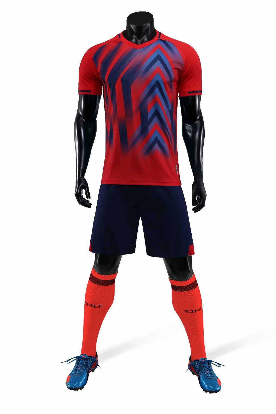Full Football Kit - Triangular Design Red and Blue.