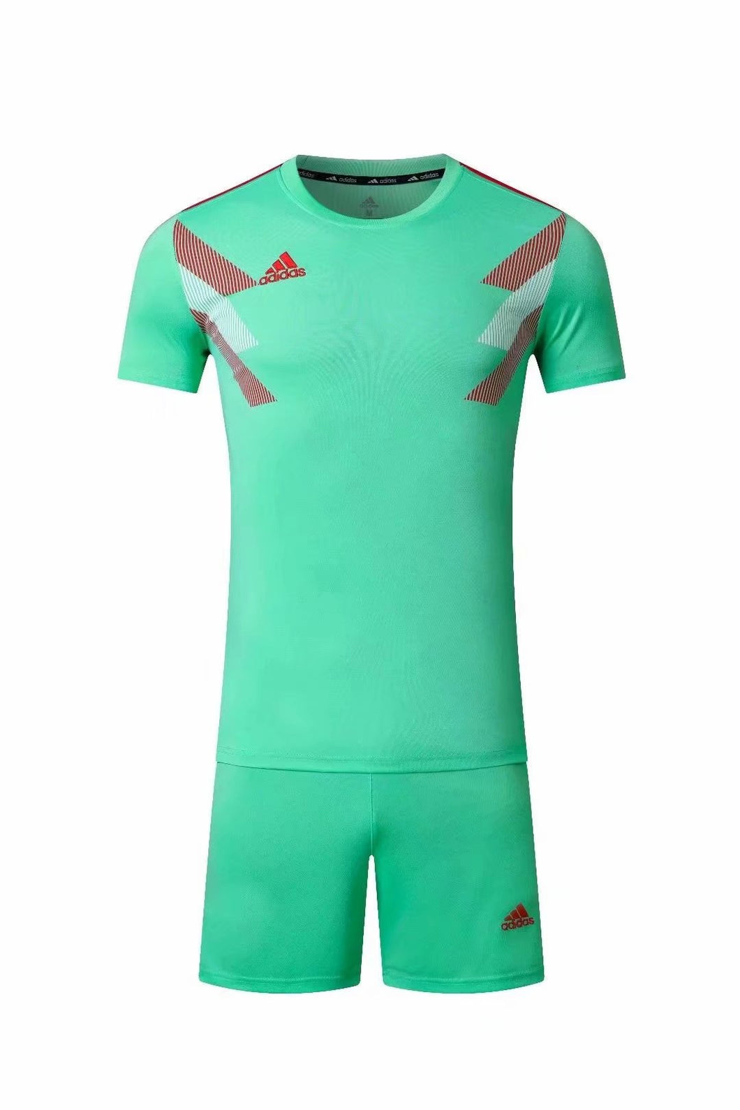 Adidas Full Football Kit Adult Sizes only - Turquoise with Red and White Chest Graphic.
