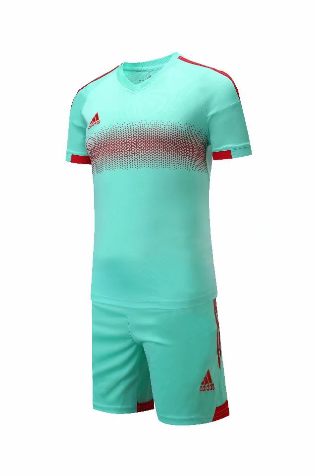 Adidas Full Football Kit Adult Sizes only - Turquoise with Red Band and Trim