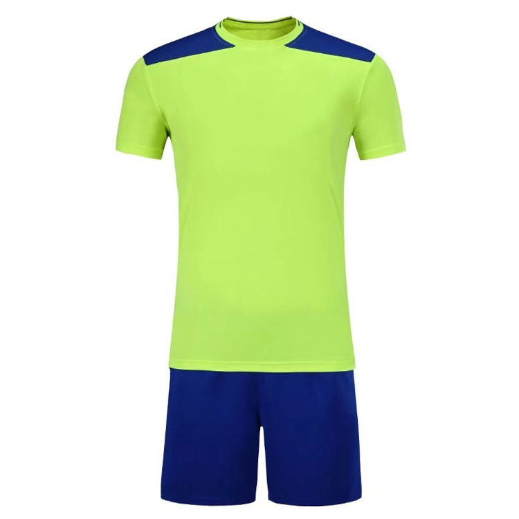 Full Football Kit - Neon Green with Royal Blue Shoulder Detail and Shorts.