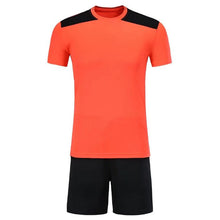 Load image into Gallery viewer, Full Football Kit - Orange with Black Shoulder Detail and Shorts.