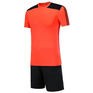 Full Football Kit - Orange with Black Shoulder Detail and Shorts.