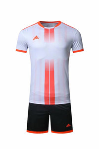 Adidas Full Football Kit Adult Sizes only - White with Orange Vertical stripe