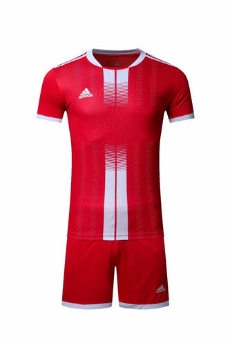 Adidas Full Football Kit Adult Sizes only – Red with White Vertical stripe