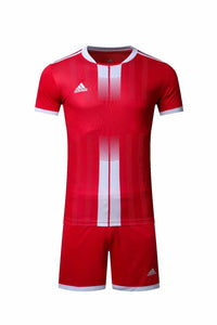 Adidas Full Football Kit Adult Sizes only – Red with White Vertical stripe.