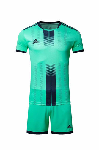 Adidas Full Football Kit Adult Sizes only - Turquoise with Black Vertical Stripe