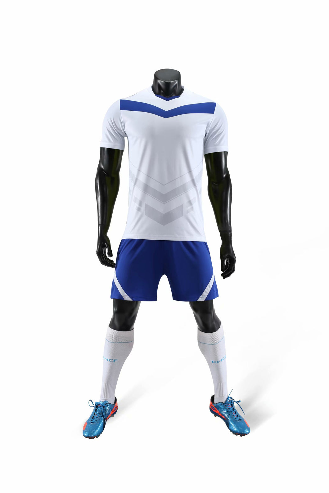 Junior Football Kit - White and Blue arrow.