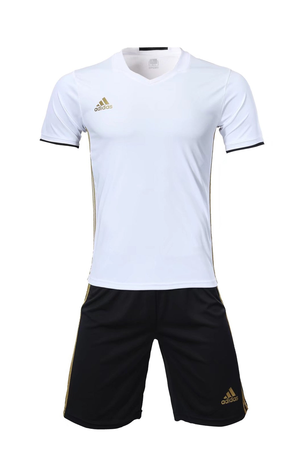 Adidas Full Football Kit Adult Sizes only - White with 3 Stripes and Black shorts