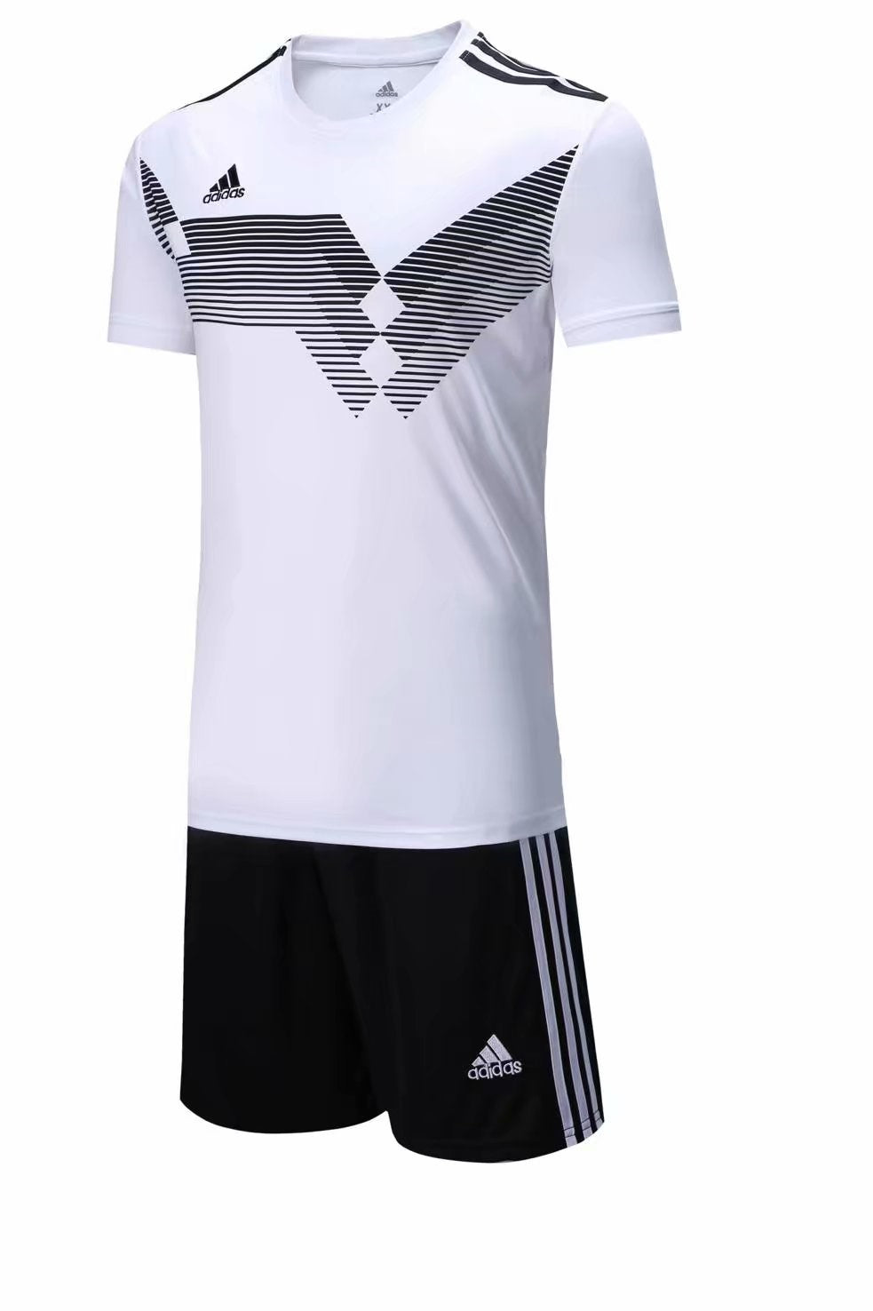 Adidas Full Football Kit Adult Sizes only - White with Black Stripe