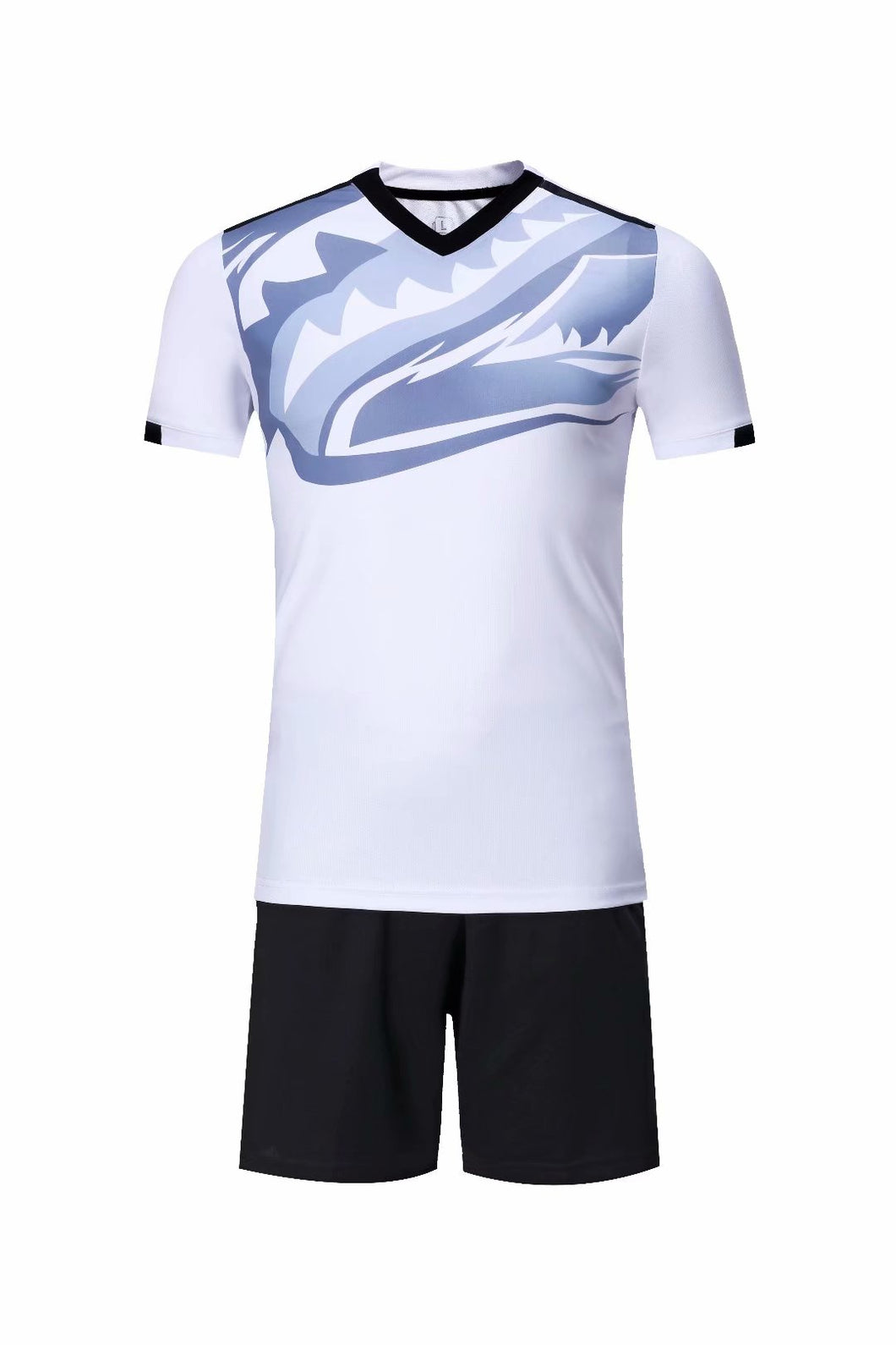 Full Football Kit - White with Royal Blue Graphic Print and Black Shorts.