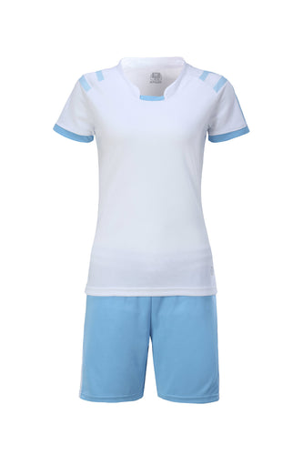 Full Football Kit - White with Baby Blue Trim and Shorts.