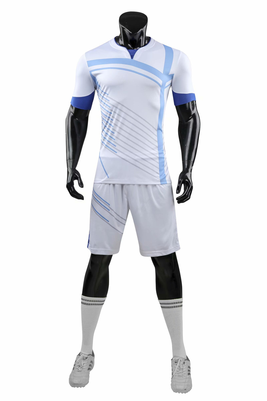 Full Football Kit - White with Blue Side Stripe.