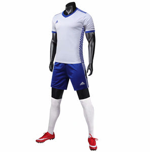 Adidas Full Football Kit Adult Sizes only - White with Blue checker